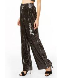 Forever 21 Sequin Wide-leg Pants , Black/silver
