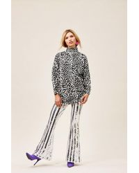 Forever 21 Striped Sequin Flare Pants , White/silver - Multicolor