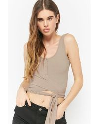 Forever 21 Tie-front Crop Top , Taupe - Natural