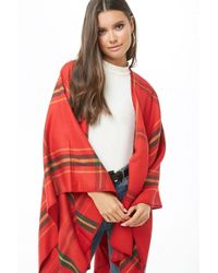 Forever 21 - Plaid Flannel Shawl , Red/mustard - Lyst