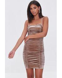Forever 21 - Ruched Velvet Mini Dress - Lyst