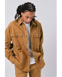 Forever 21 Buttoned Canvas Jacket In Copper Small - Brown