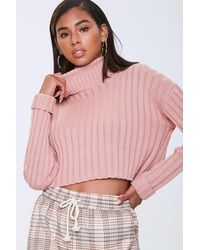 Forever 21 Cropped Turtleneck Sweater - Pink