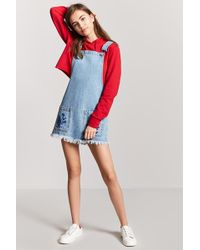 Forever 21 - Embroidered Overall Dress - Lyst