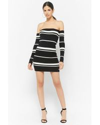 76e12a732e8 Lyst - Forever 21 Off-the-shoulder Sweater Dress in Black