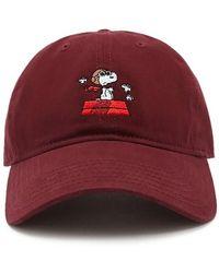 Forever 21 Snoopy Baseball Cap , Burgundy/multi - Red