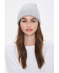 Forever 21 Speckled Rib-knit Beanie In Heather Gray