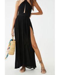 Forever 21 Crinkled Cutout M-slit Maxi Dress - Black