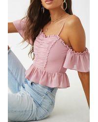 Forever 21 Chiffon Open Shoulder Top , Lavender - Pink