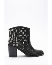 Forever 21 - Studded Faux Leather Ankle Boots - Lyst