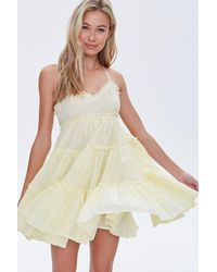 Forever 21 Tiered Fit & Flare Mini Dress - Yellow