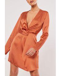 Missguided Twist-front Satin Dress At , Rust - Orange
