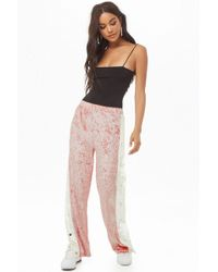 Forever 21 Crushed Velvet Tearaway Pants - Pink