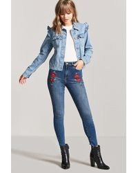 Forever 21 - Floral Embroidered Skinny Jeans - Lyst