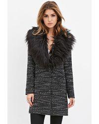 Forever 21 Faux Fur Tweed Coat - Black
