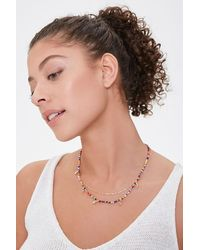 Forever 21 Beaded Cowrie Charm Necklace Set - Multicolour