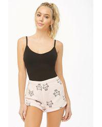 Forever 21 - Fleece Cat Print Pajama Shorts - Lyst