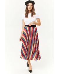 f3e9914d74 Forever 21 - Rainbow Accordion-pleated Midi Skirt , Black/multi - Lyst