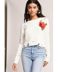 Forever 21 | Distressed Floral Sweater | Lyst