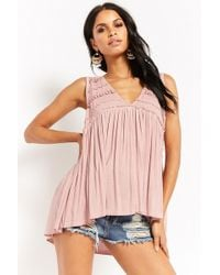 Forever 21 - Plunging Shirred Top - Lyst