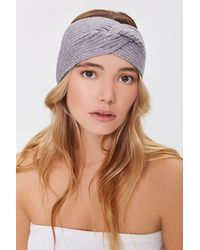 Forever 21 Ribbed Twisted Headwrap - Gray