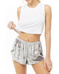 Forever 21 - Mina Lisa Crushed Velvet Tulip Shorts - Lyst