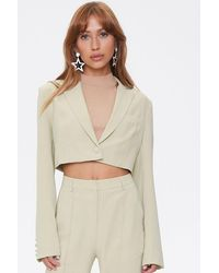 Forever 21 Cropped Notched-lapel Blazer - Multicolor