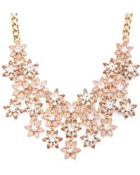 Forever 21 Women's Faux Gem Flower Bib Necklace