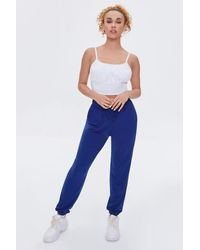Forever 21 French Terry Drawstring Sweatpants - Blue