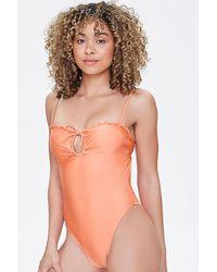 Forever 21 Drawstring Cutout One-piece Swimsuit - Orange