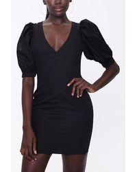 Forever 21 Puff-sleeve Mini Dress - Black