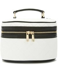 Forever 21 Quilted Makeup Train Case , White/black