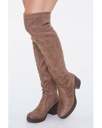 Forever 21 Over-the-knee Block Heel Boots - Brown
