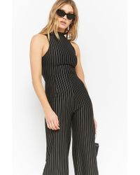 8ad3a083b12 Lyst - Forever 21 Pinstriped Strapless Jumpsuit in Blue