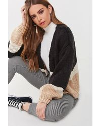 Forever 21 Colorblock Purl Knit Cardigan - Black
