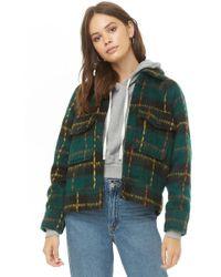 Forever 21 - Plaid Brushed Woven Jacket , Emerald/black - Lyst