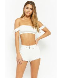 Forever 21 - Frayed Off-the-shoulder Top & Shorts Set - Lyst