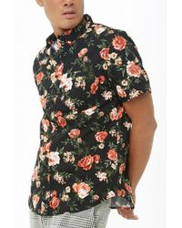 447aec9fb73 Forever 21  s Rose Embroidered Shirt in Black for Men - Lyst