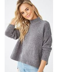 Forever 21 - Ribbed Chenille Sweater , Charcoal - Lyst