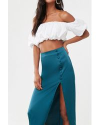 Forever 21 Satin Maxi Skirt , Emerald - Green