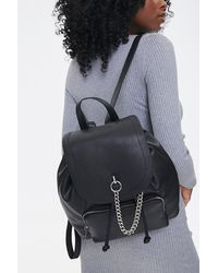 Forever 21 Faux Leather Drawstring Backpack In Black