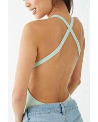 Forever 21 - Crisscross-back Bodysuit , Sage - Lyst