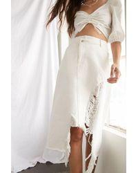 Forever 21 Distressed Asymmetrical Denim Skirt , White