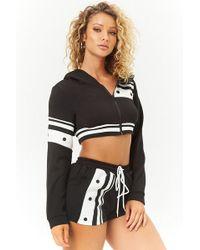 Forever 21 Striped-trim Cropped Jacket & Shorts Set , Black