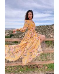 Forever 21 Chiffon Floral M-slit Maxi Dress - Yellow