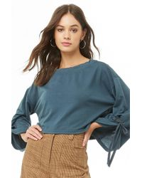 Forever 21 Tie-cuff Crop Top , Teal - Blue