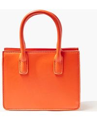 Forever 21 Faux Leather Top Handle Crossbody Bag In Orange