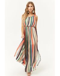 Forever 21 - Pleated Striped Maxi Dress - Lyst
