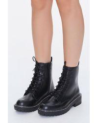 Forever 21 Faux Leather Lace-up Booties - Black