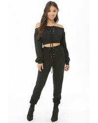 Forever 21 - Lace-up Crop Top & Sweatpants Set , Black - Lyst